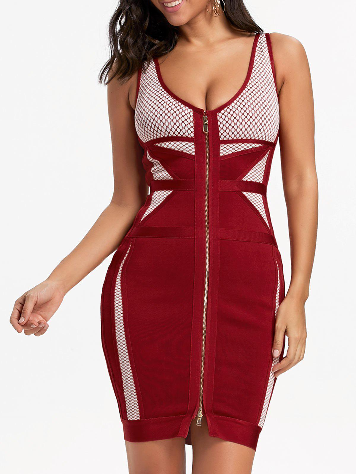 Sleeveless Night Out Bandage Dress - RED L