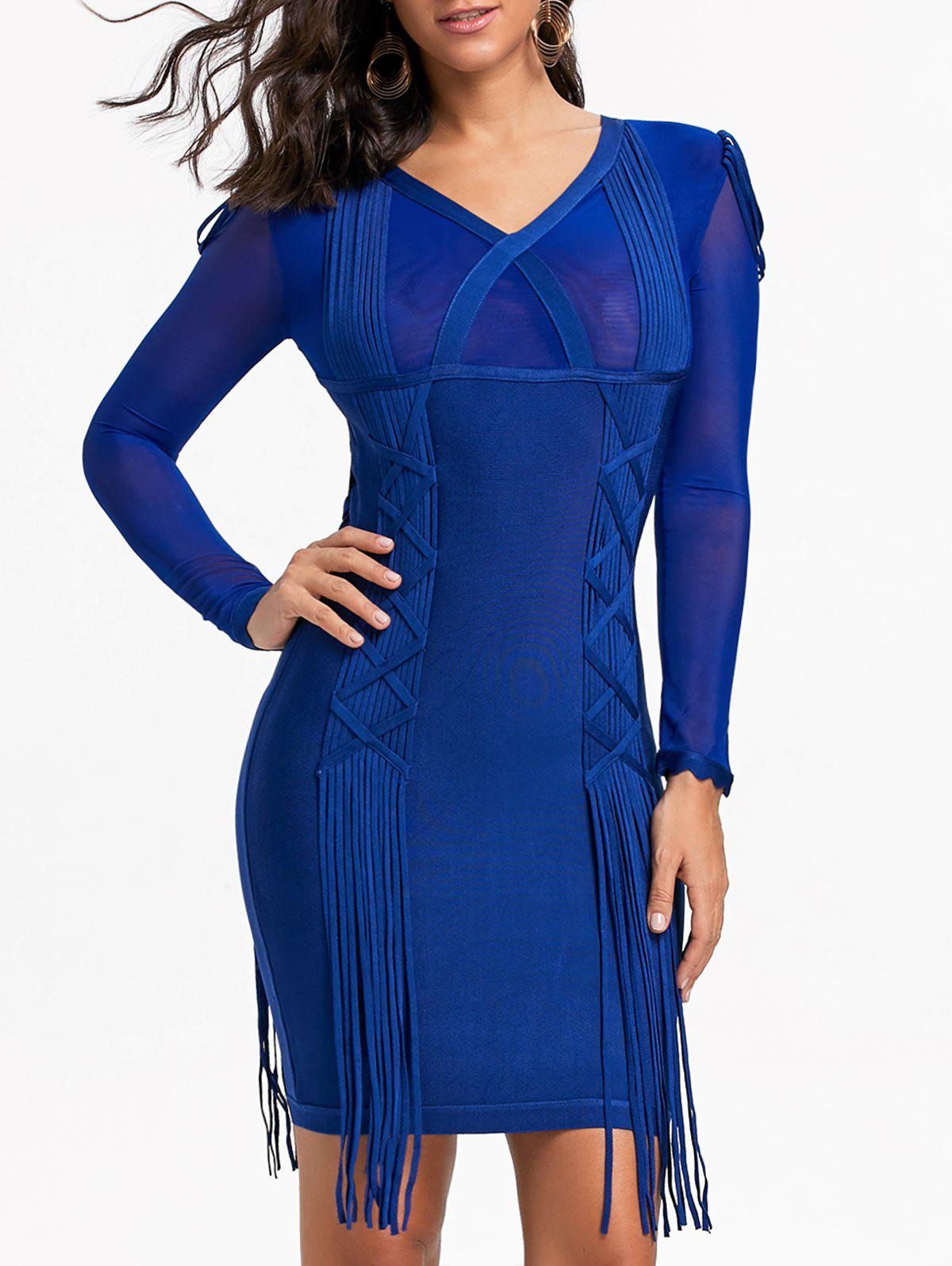 Mesh Long Sleeve Fringe Bandage Dress - BLUE M