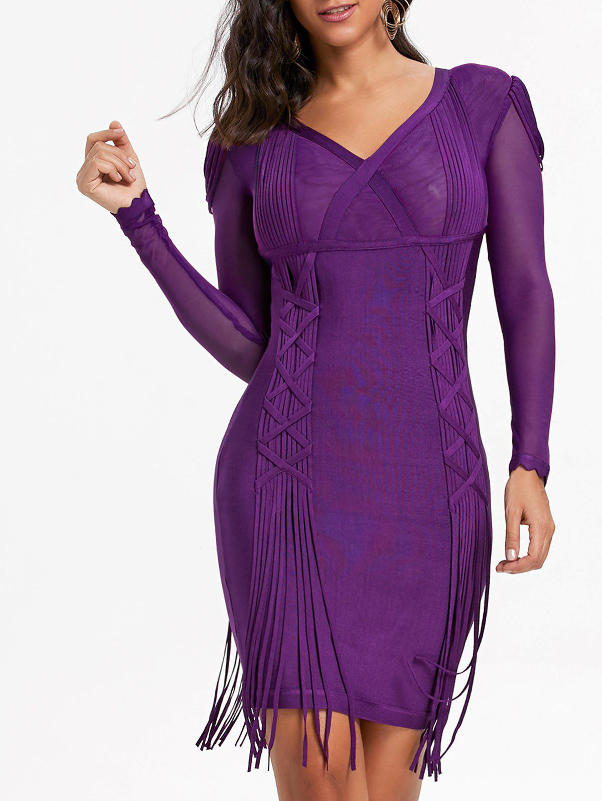 Mesh Long Sleeve Fringe Bandage Dress - PURPLE L