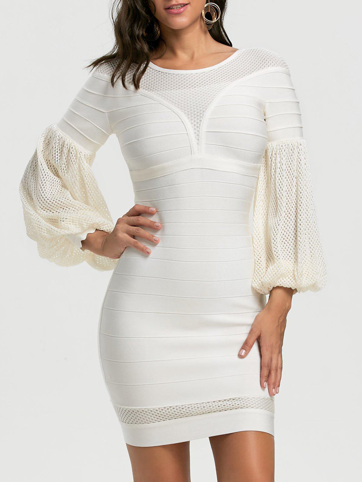 Mesh Insert Lantern Sleeve Bandage Dress - Blanc 2XL