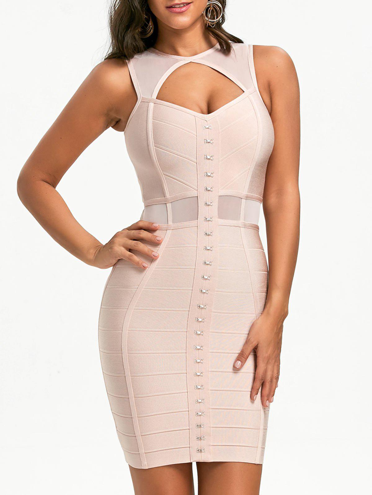Mesh Insert Cut Out Bandage Dress - PINK M