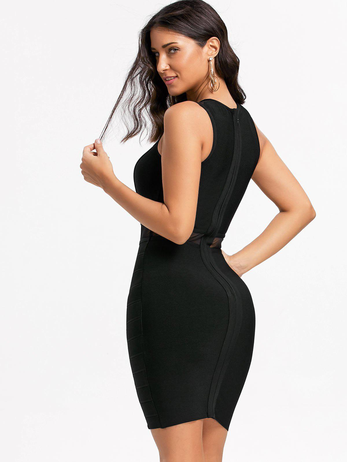 Mesh Insert Cut Out Bandage Dress - BLACK M