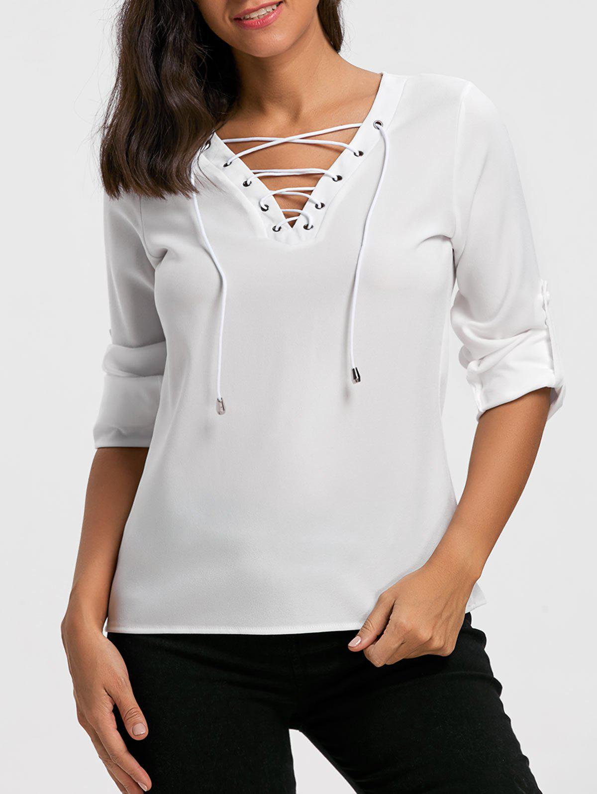 V Neck Lace Up Long Sleeve Blouse - WHITE M