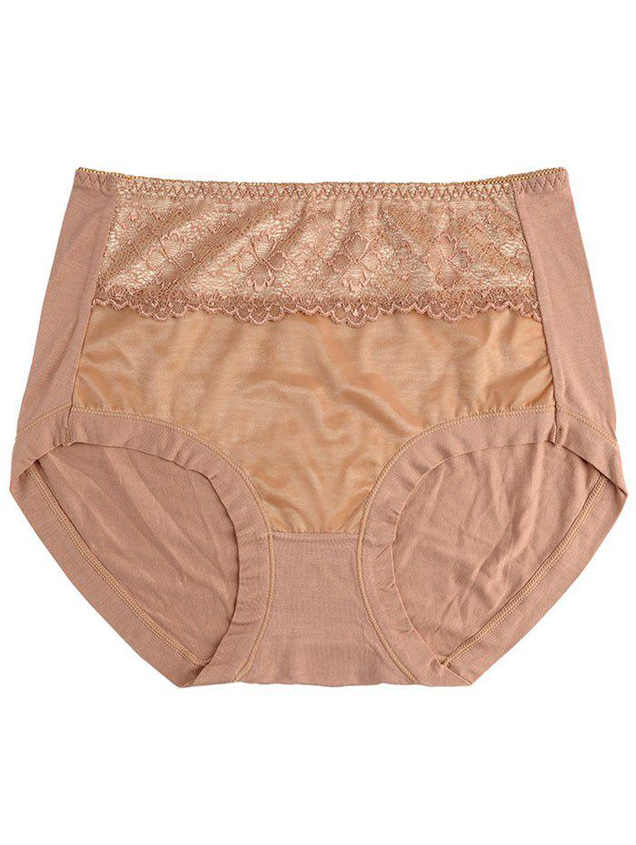 Lingerie Panties with Mesh - COFFEE ONE SIZE