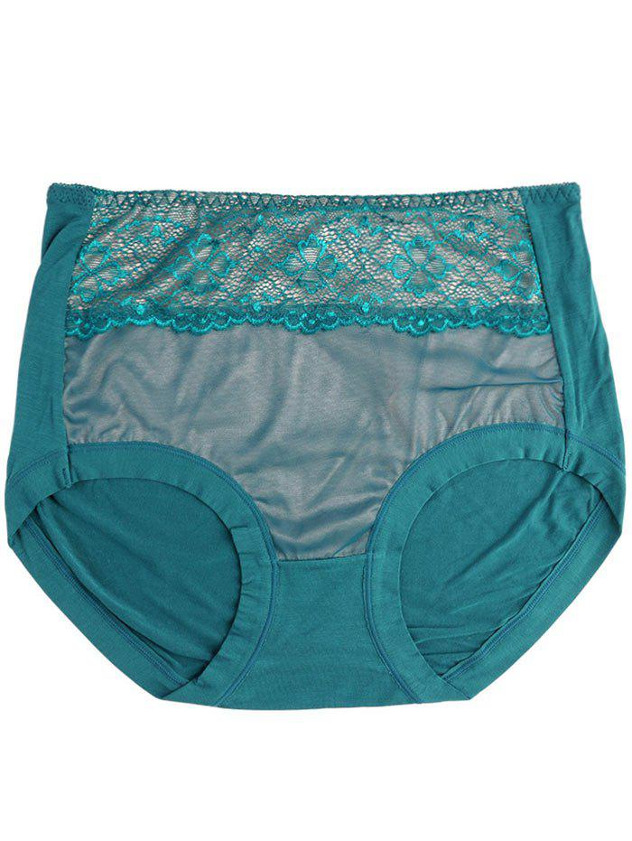 Lingerie Panties with Mesh - BLACKISH GREEN ONE SIZE