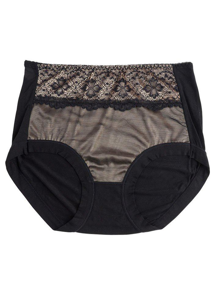 Lingerie Panties with Mesh - BLACK ONE SIZE