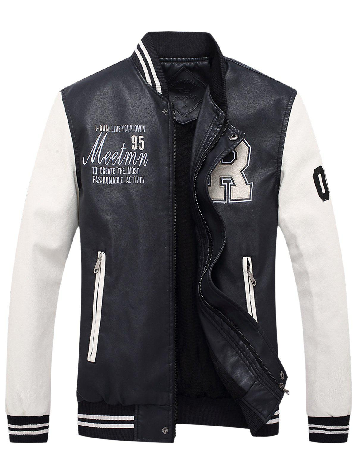 PU Leather Graphic Embroidered Baseball Jacket fleece graphic embroidered pu leather jacket