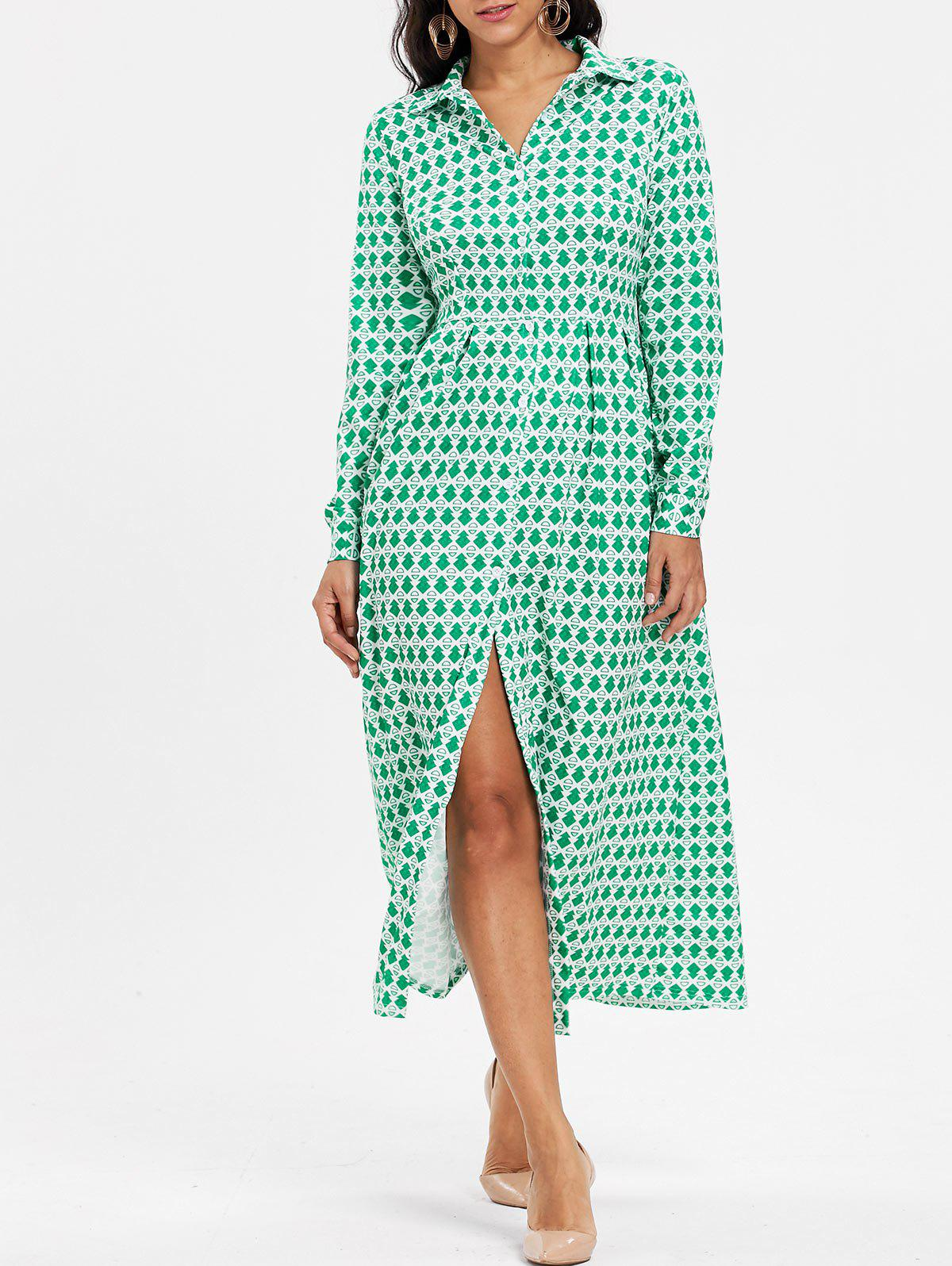 Button Down Printed Maxi Shirt Dress - GREEN L