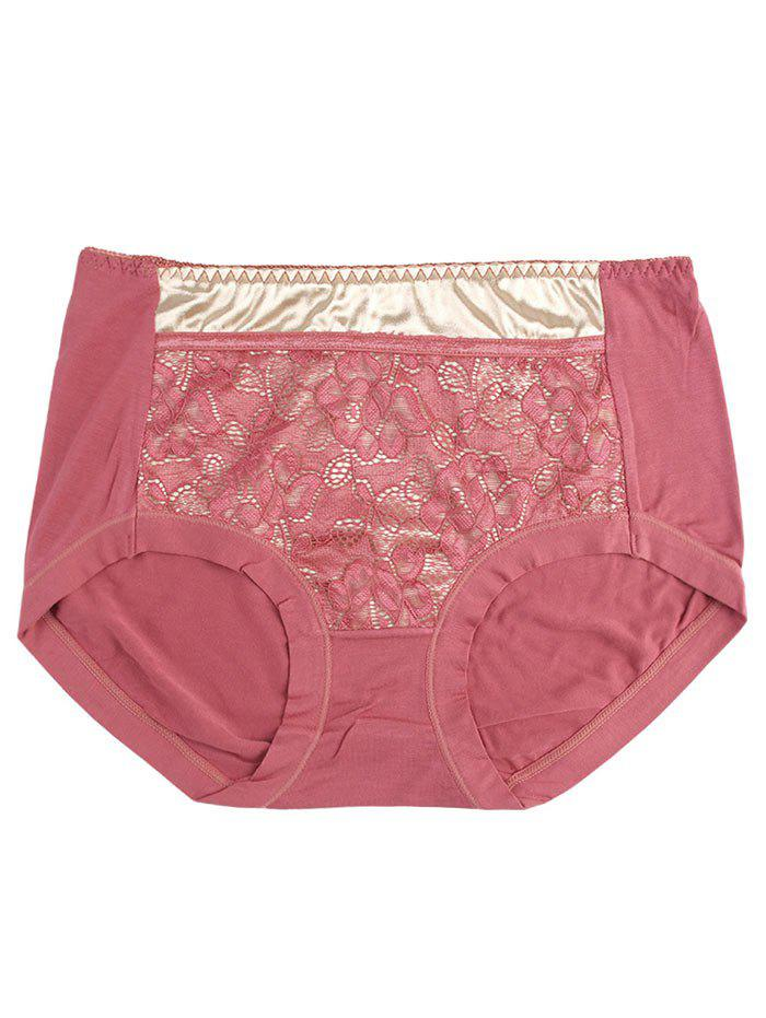 Lace Satin Panel Panties - RUSSET RED ONE SIZE