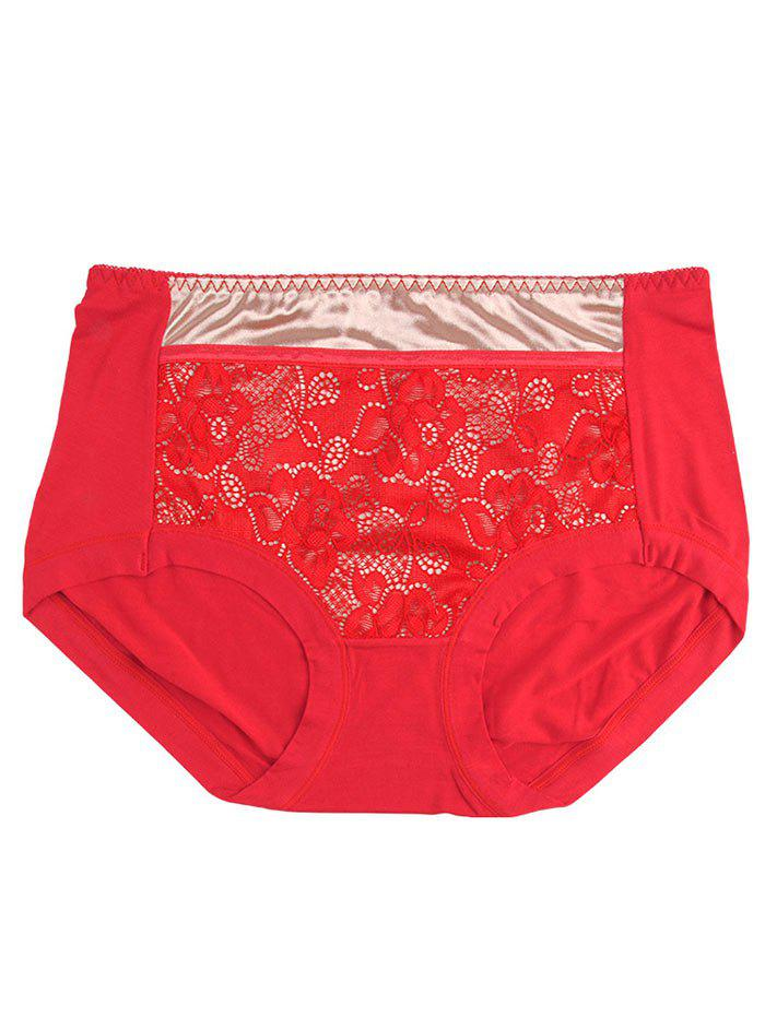 Lace Satin Panel Panties - RED ONE SIZE