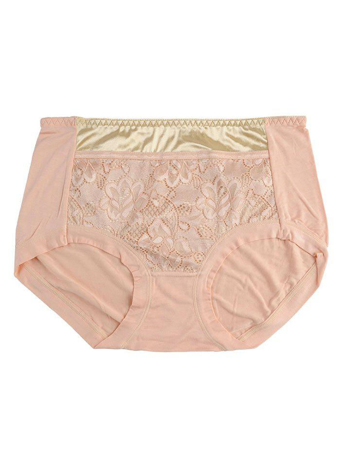Lace Satin Panel Panties - LIGHT ORANGE ONE SIZE