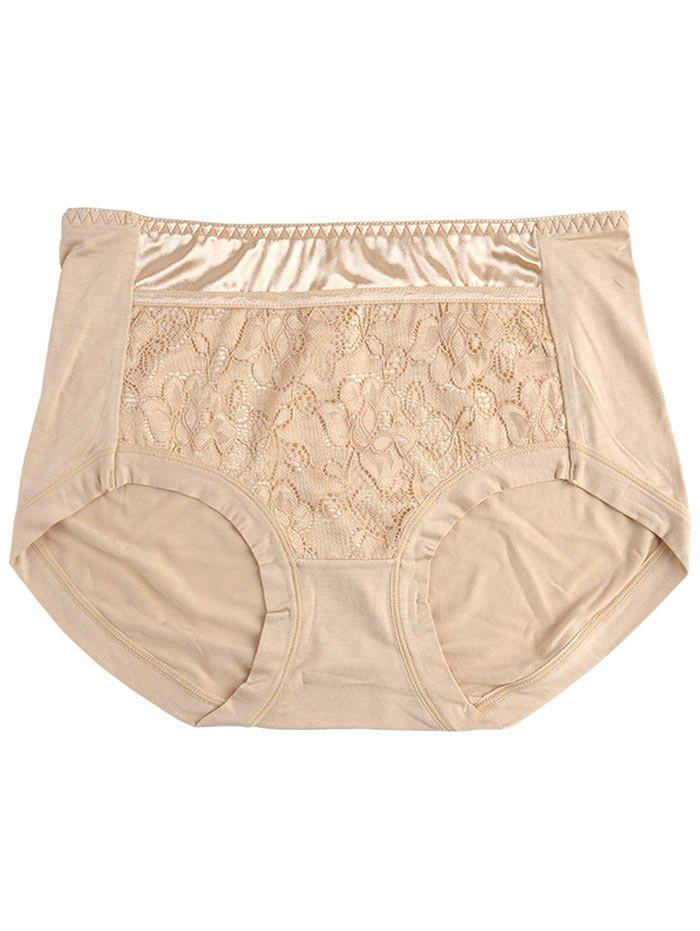 Lace Satin Panel Panties - COMPLEXION ONE SIZE