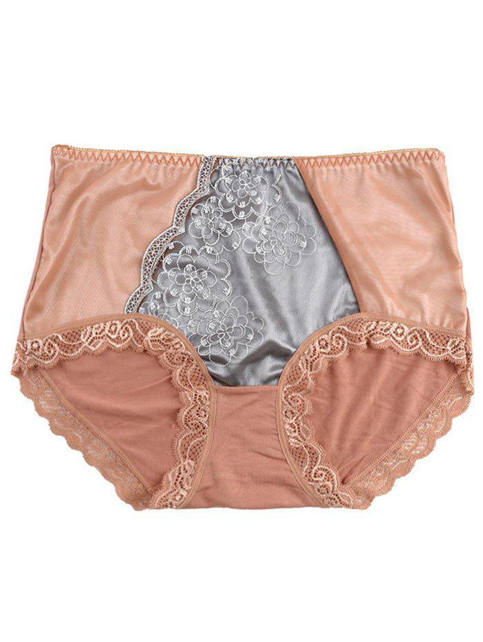 Lace Trim Panties - LIGHT COFFEE ONE SIZE
