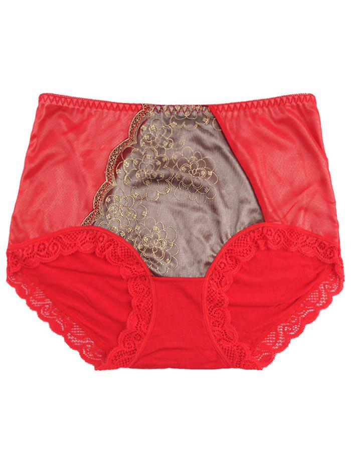 Lace Trim Panties - RED ONE SIZE