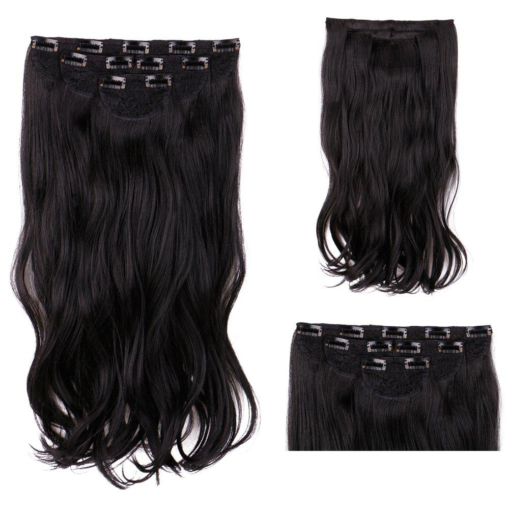 2018 4pcslot Clip In Long Wavy Synthetic Hair Extensions Black In