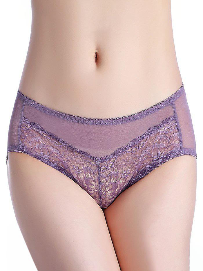 Mesh Lingerie Panties - LIGHT PURPLE ONE SIZE