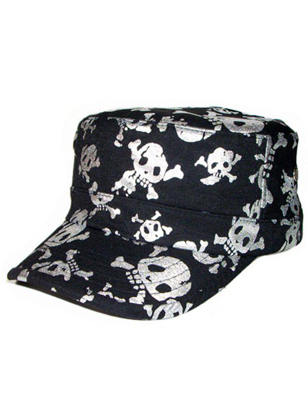 Flat Top Shimmer Skull Pattern Military Hat chairman mao pattern flat top cotton fabric cap hat