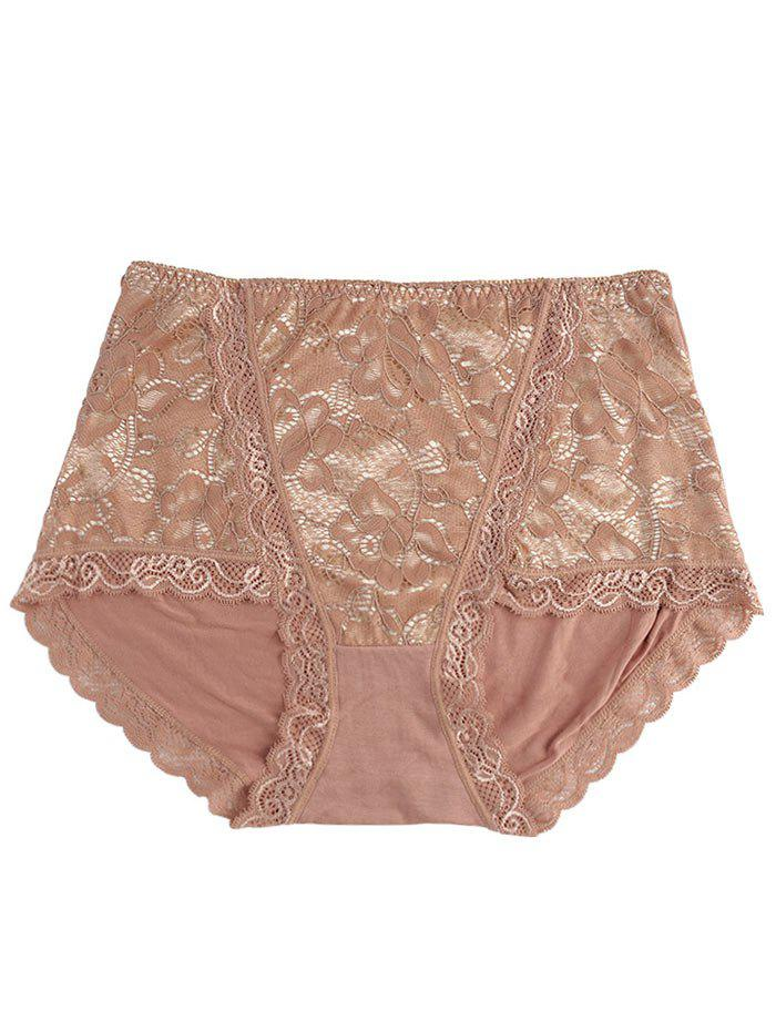 Lace Front Full Coverage Panties - COFFEE ONE SIZE