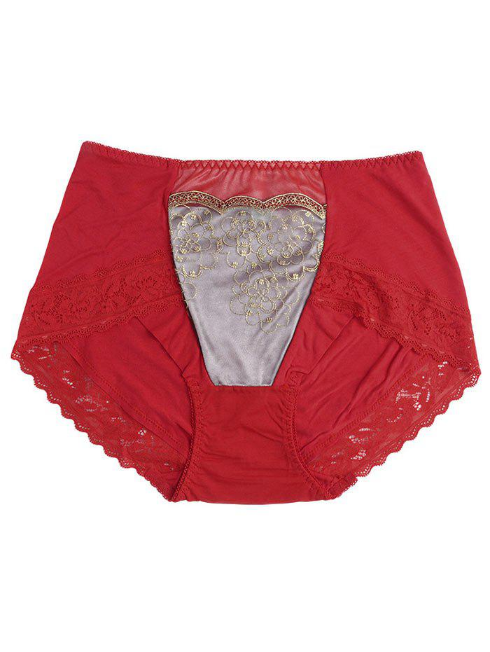 Lace Trim Lingerie Panties - RED ONE SIZE