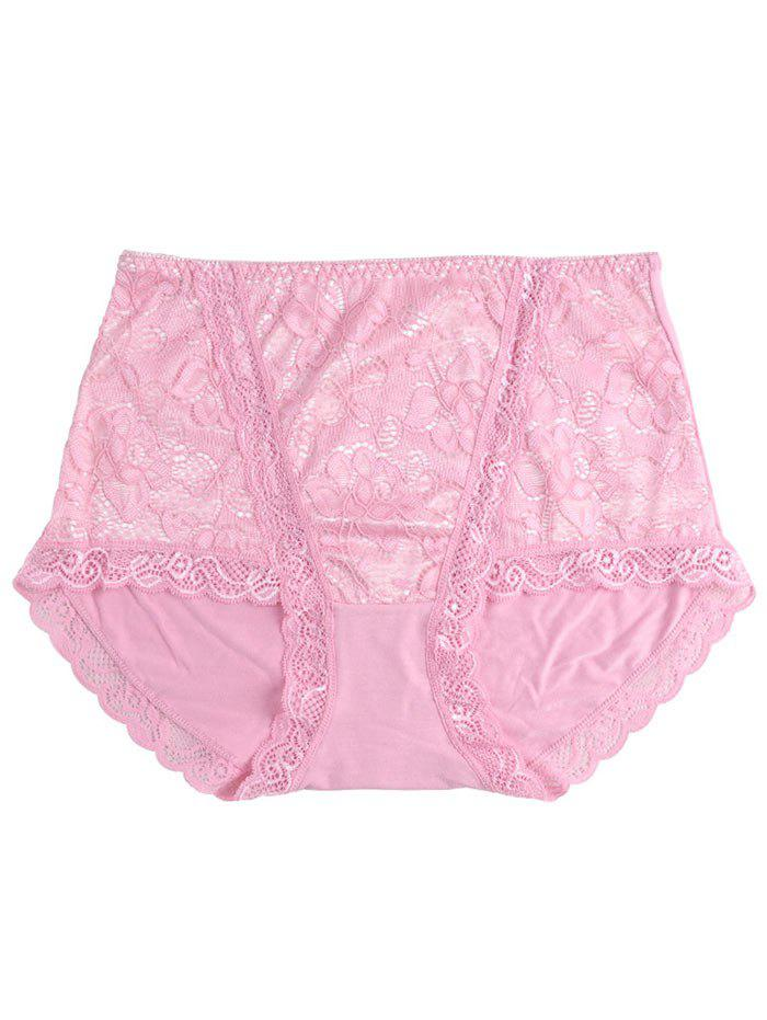 Lace Front Full Coverage Panties - PINK ONE SIZE