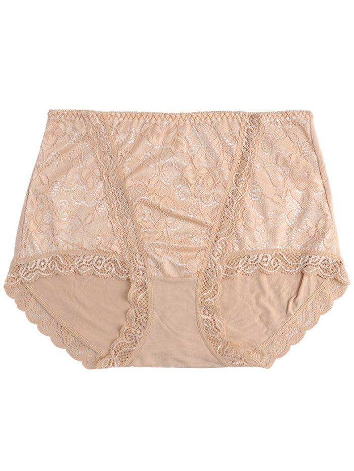 Lace Front Full Coverage Panties - COMPLEXION ONE SIZE