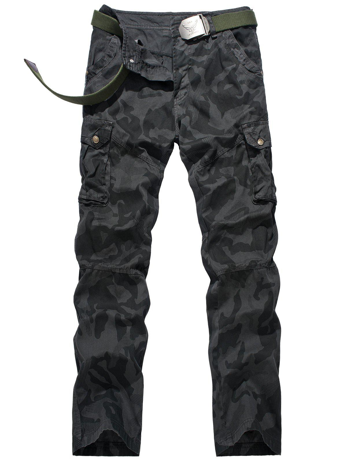 Swallow Gird Camouflage Cargo Pants - DEEP GRAY 38