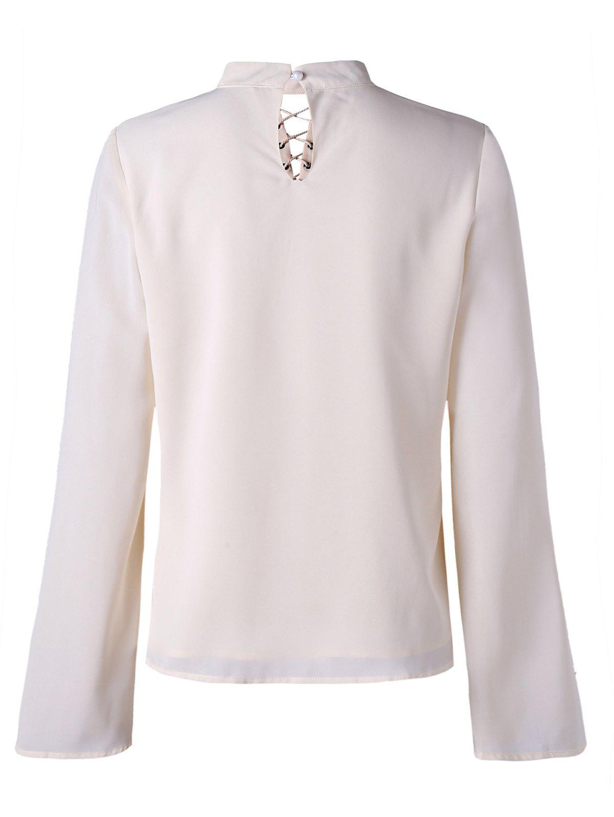 Mock Neck Lace Up Blouse - OFF WHITE XL