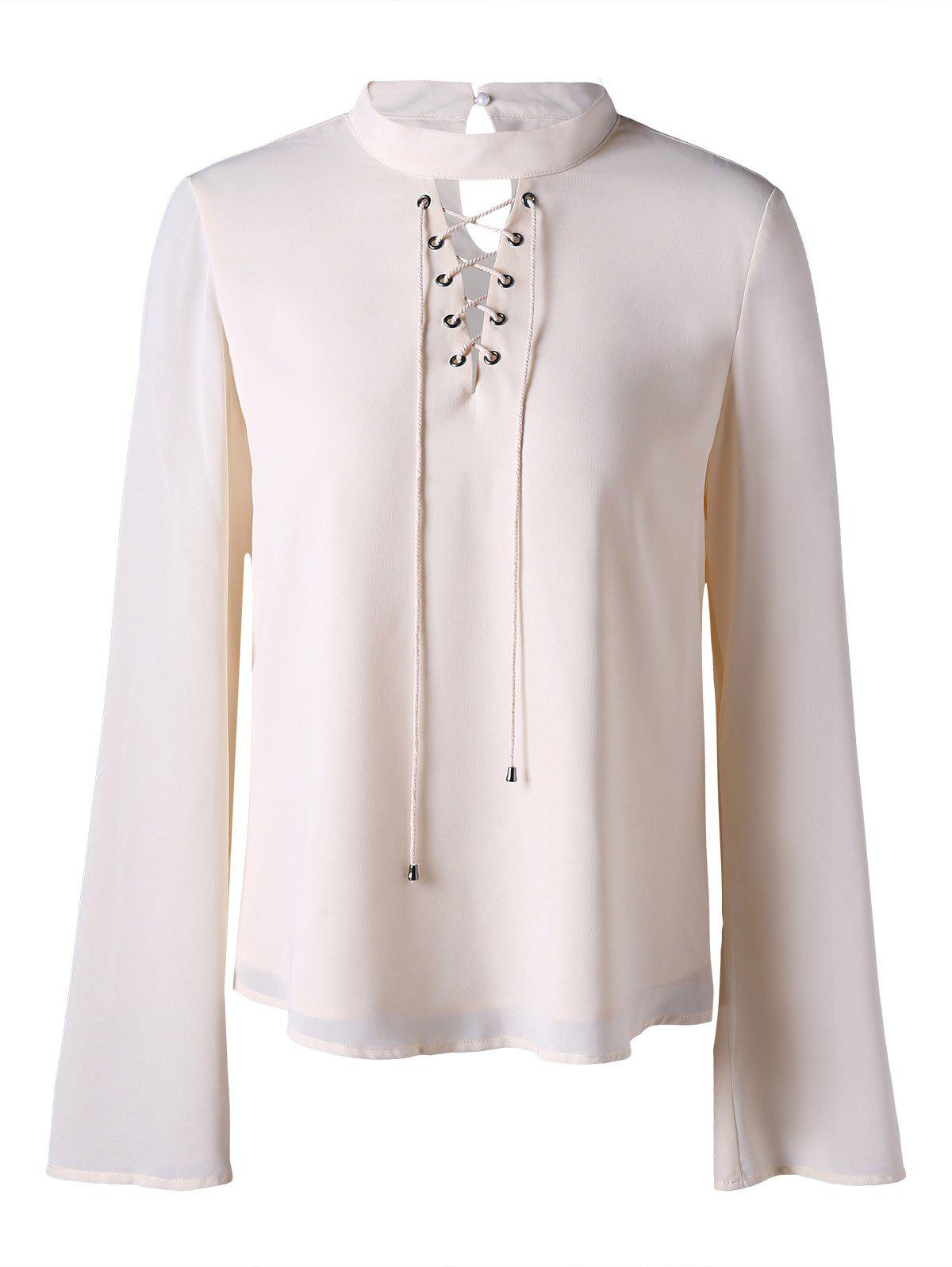 Mock Neck Lace Up Blouse - OFF WHITE M