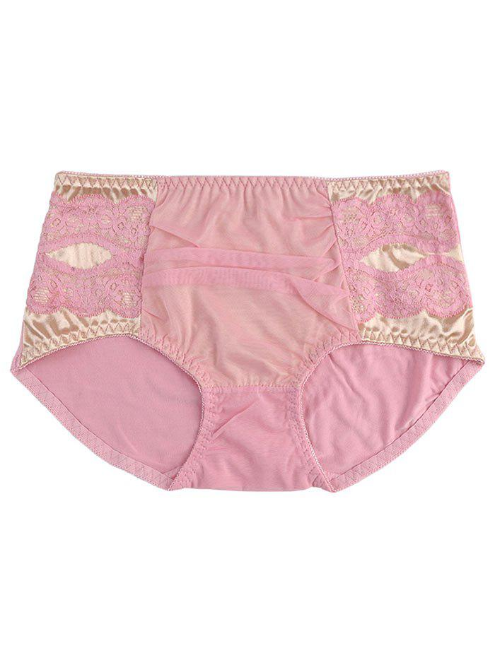Mesh Panel Full Coverage Panties - PINK ONE SIZE