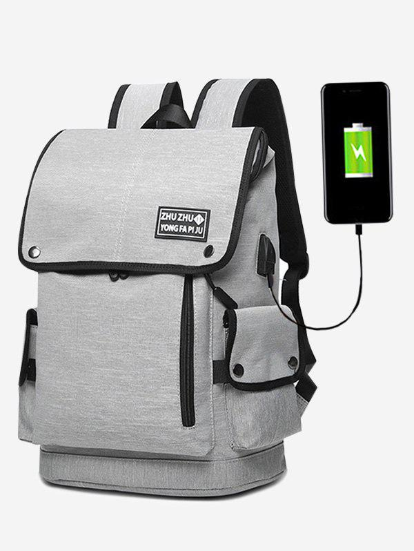 Side Pocket Usb Charging Port Stud Backpack - GRAY