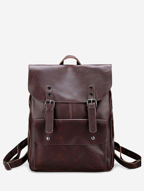 Faux Leather Stud Buckle Straps Backpack - Brun