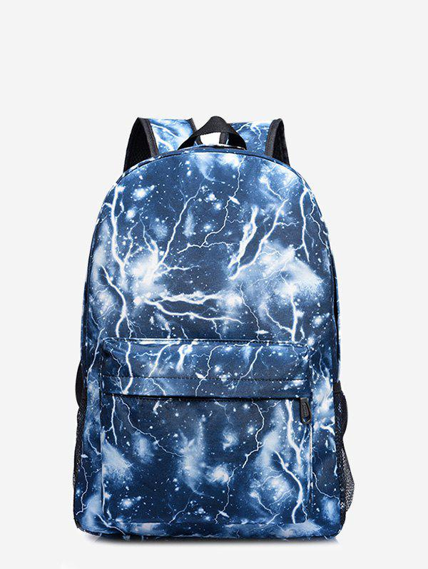 Padded Strap Lightning Printed Backpack - BLUE