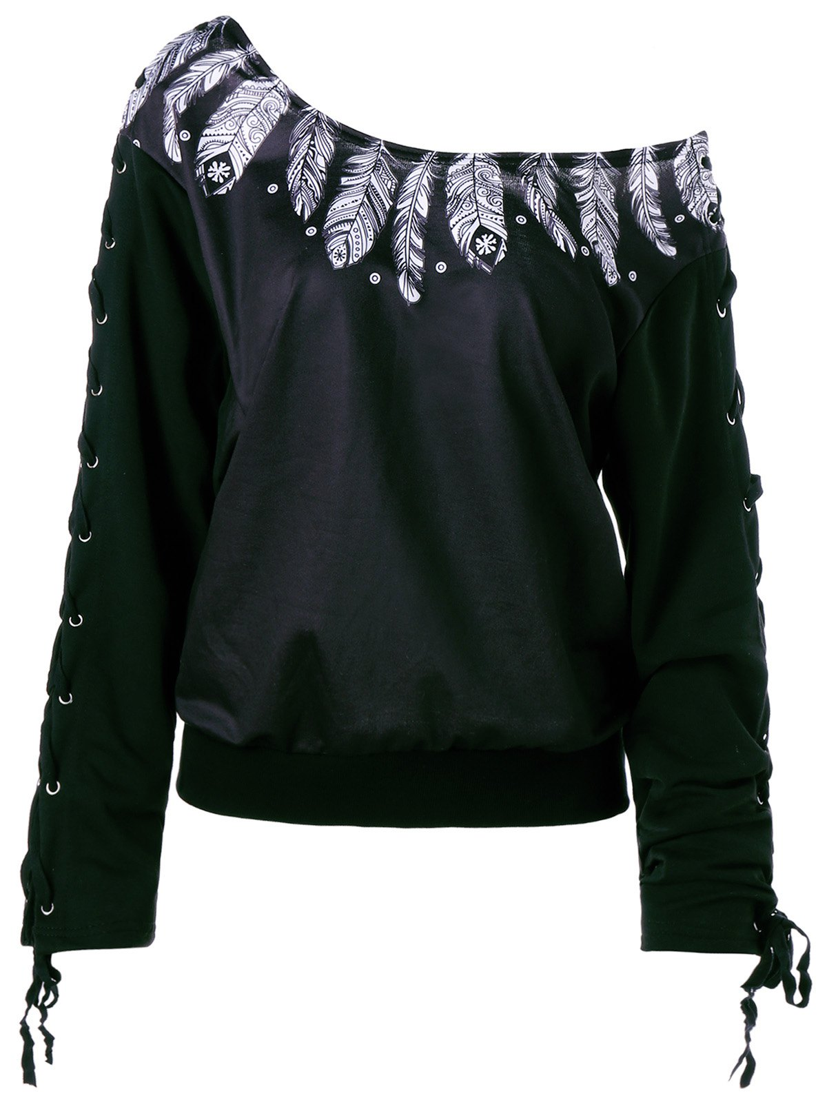 Lace Up Skew Neck Feather Print Sweatshirt feather print sweatshirt