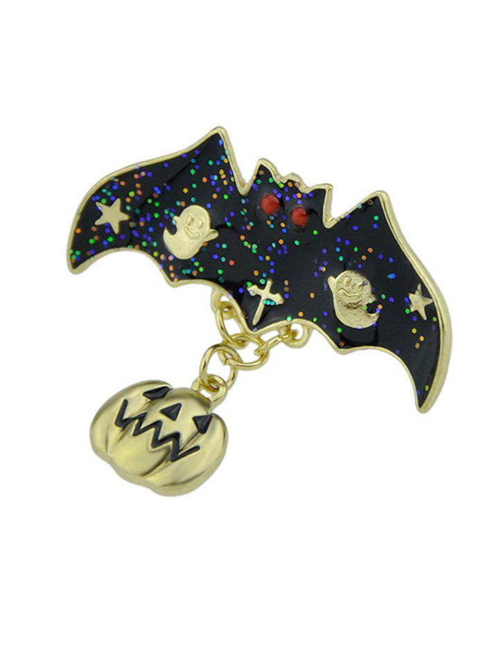Halloween Pumpkin Ghost Star Bat Brooch - GOLDEN