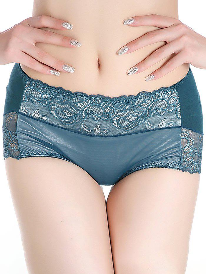 Lingerie Panties with Lace - BLACKISH GREEN ONE SIZE