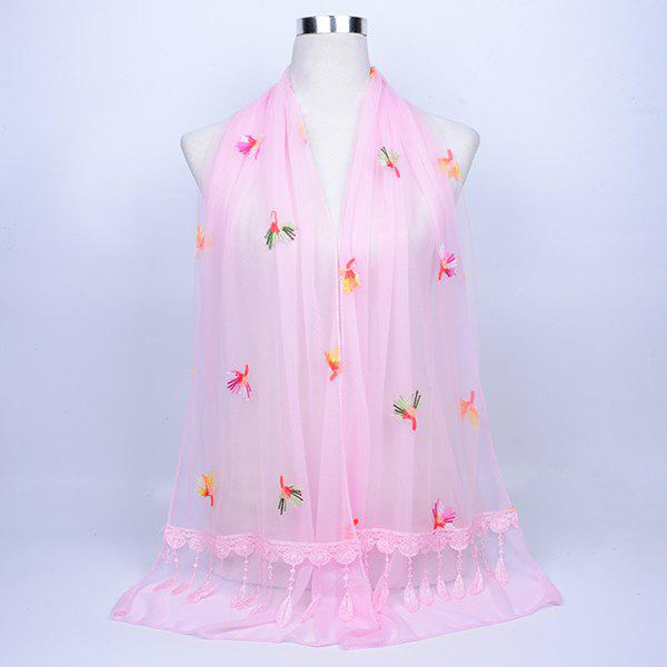 Dandelion Embroidered Lace Tassel Shawl Scarf - PAPAYA