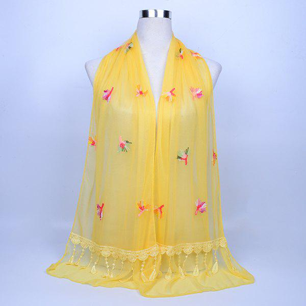 Dandelion Embroidered Lace Tassel Shawl Scarf - LIGHT YELLOW