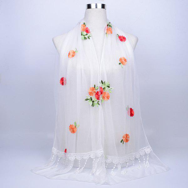 Vintage Floral Embroidery Lace Tassel Shawl Scarf - WHITE