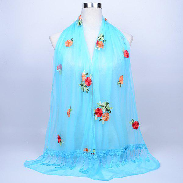 Vintage Floral Embroidery Lace Tassel Shawl Scarf - AZURE