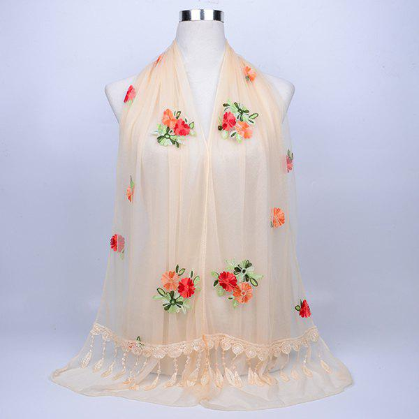 Vintage Floral Embroidery Lace Tassel Shawl Scarf - PALOMINO