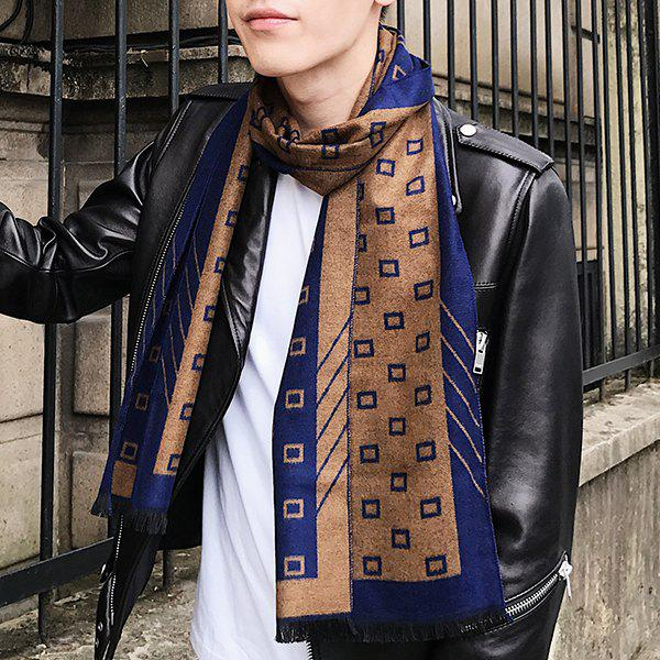 Fringed Small Check Pattern Scarf - BROWN