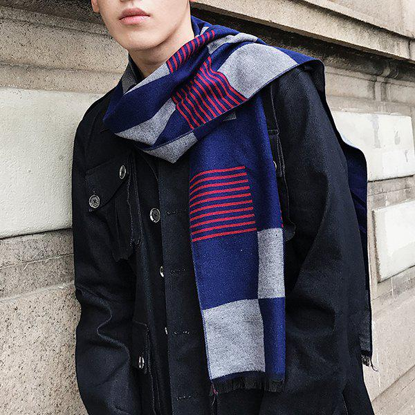 Checked Pattern Color Block Fringed Scarf - DEEP BLUE