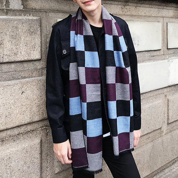 Checked Pattern Color Block Fringed Scarf - LIGHT BLUE