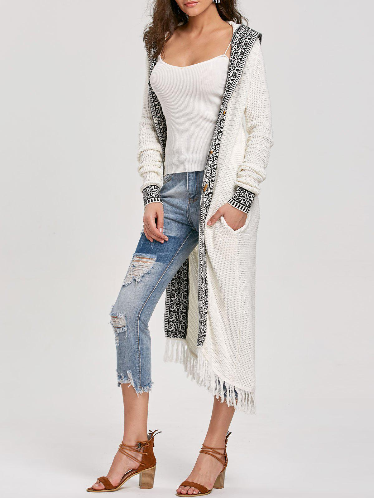 2017 Hooded Fringe Jacquard Trimmed Longline Cardigan WHITE XL In ...