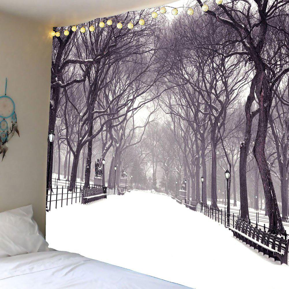 Hanging Snow Covering Road Trees Wall Tapestry