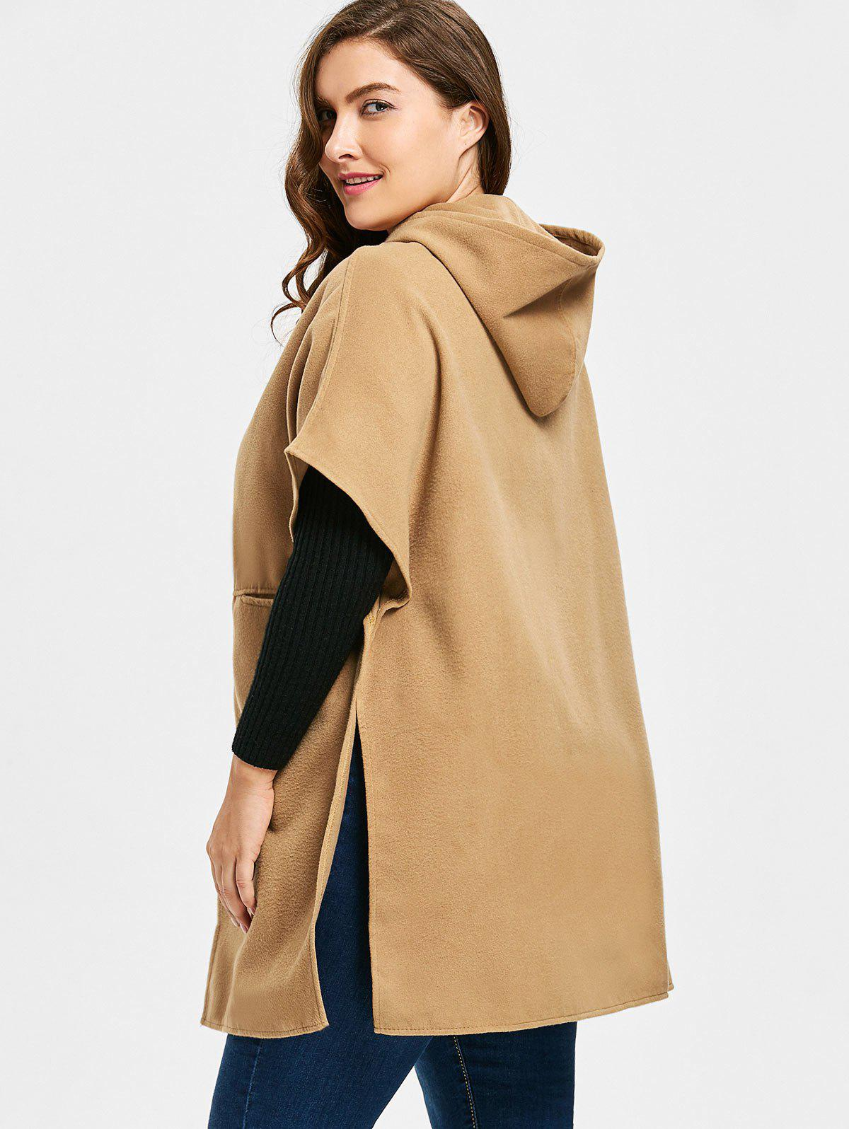 Plus Size Faux Suede Hooded Poncho Coat - CAMEL 3XL
