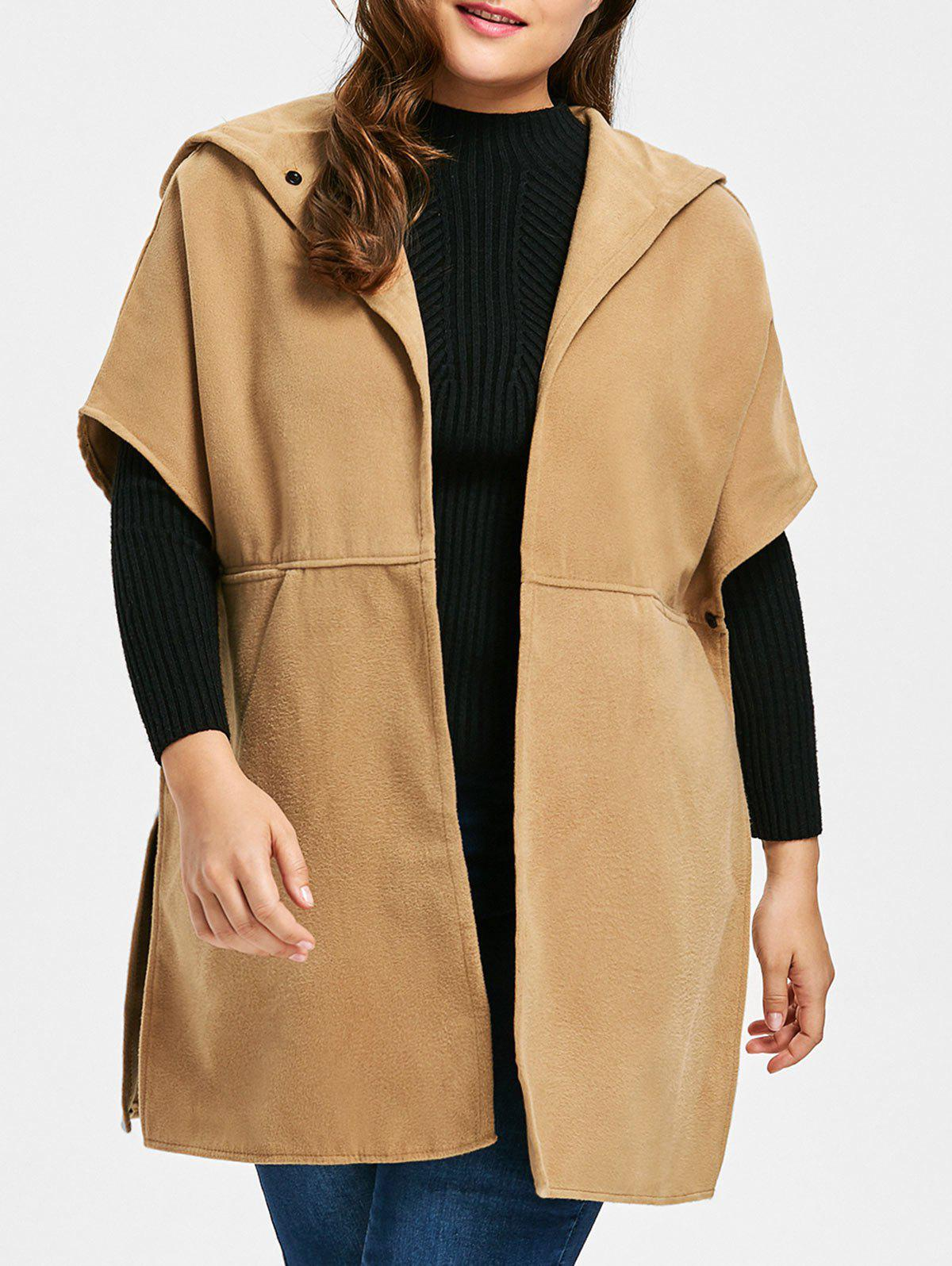 Plus Size Faux Suede Hooded Poncho Coat - CAMEL 4XL