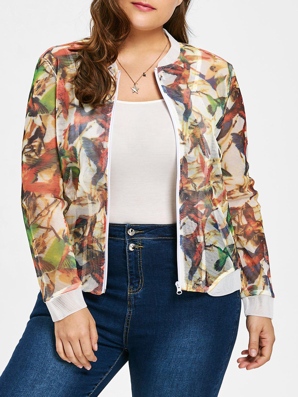 Plus Size Sheer Mesh Bird Print Jacket - COLORMIX 5XL
