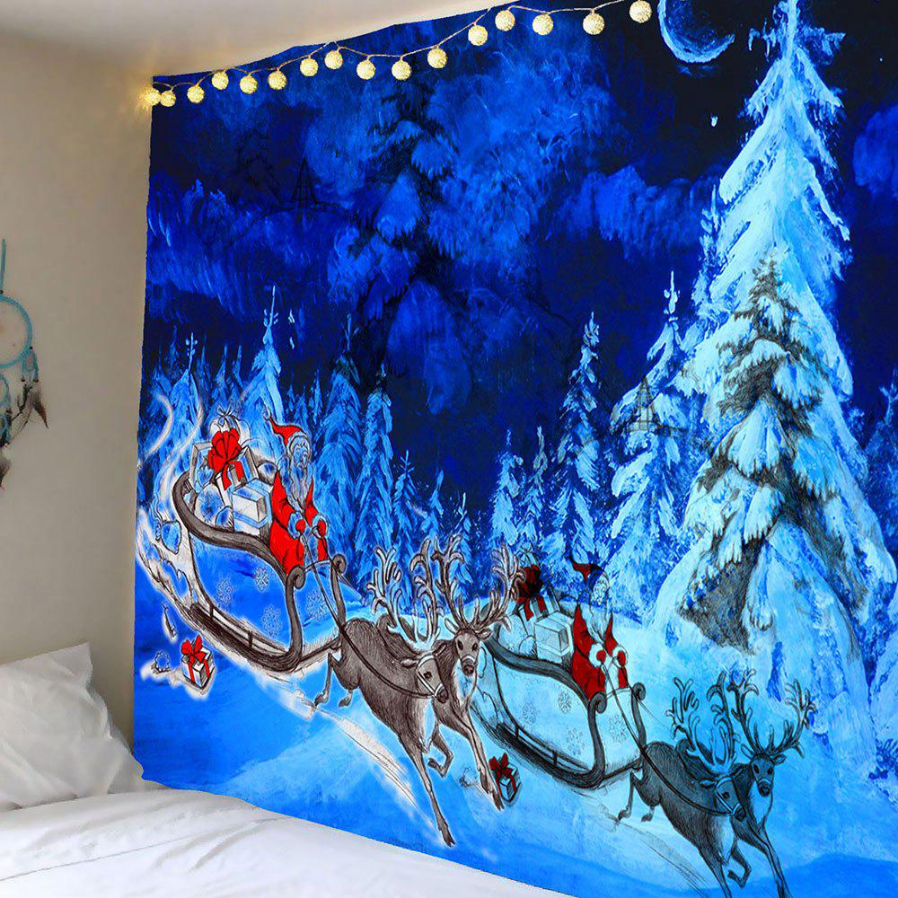 Snowfield Forest Santa Claus Reindeer Cart Patterned Tapestry santa claus s magic patterned shower bath curtain