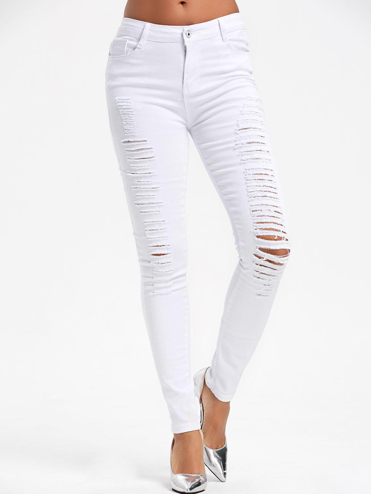 High Waist Ripped Skinny Pants summer women stretch slim pencil pants full length sexy ripped hole skinny high waist trousers plus size pantalon femme